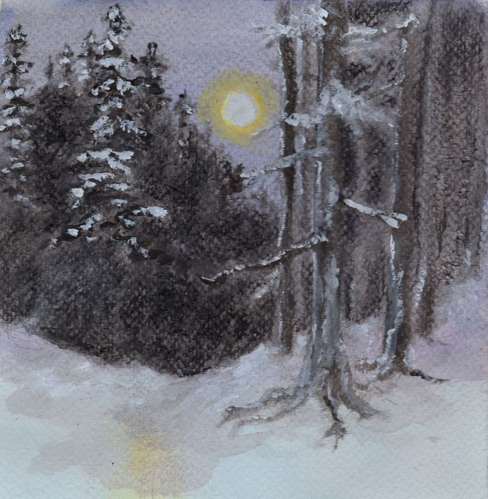 Moonlit Snowy Woods - Jen Hallbrown Art