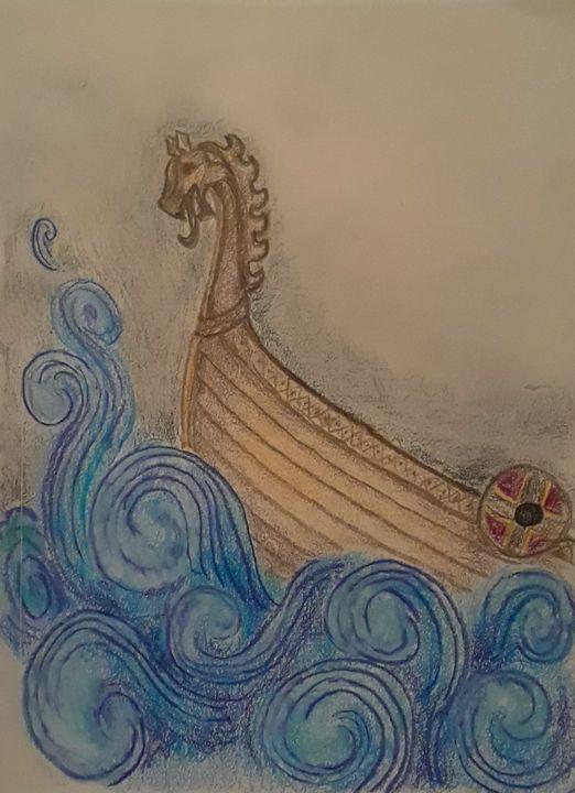 Viking Ship - Jen Hallbrown Art