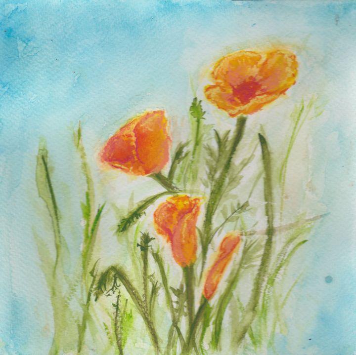 California Poppies - Jen Hallbrown Art