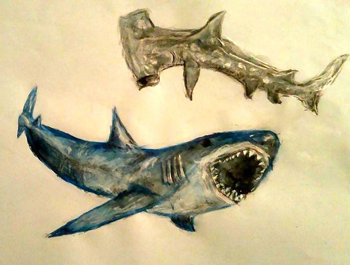 Sharks - Jen Hallbrown Art