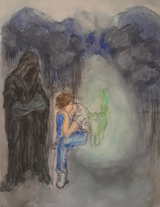 Just Death, A Boy and His Ghost Cat - Jen Hallbrown Art