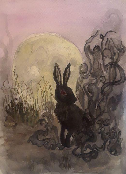 Black Rabbit of Inle - Jen Hallbrown Art