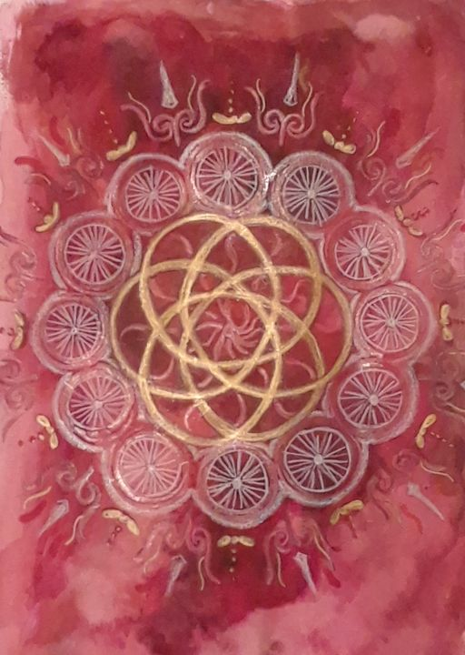 Aries Fire Mandala - Jen Hallbrown Art