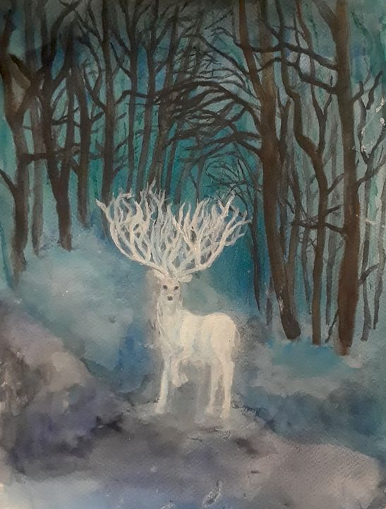 White Stag - Jen Hallbrown Art
