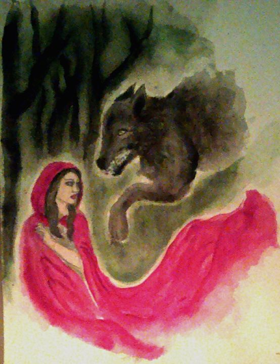 Red Riding Hood and the Wolf - Jen Hallbrown Art