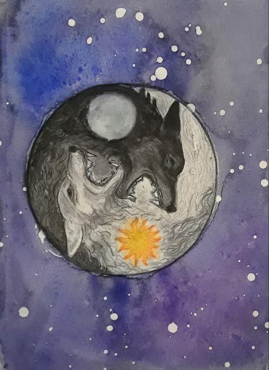 Skoll and Hati - Jen Hallbrown Art