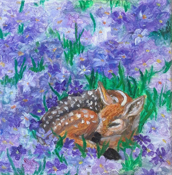 Sleeping Deer - Jen Hallbrown Art