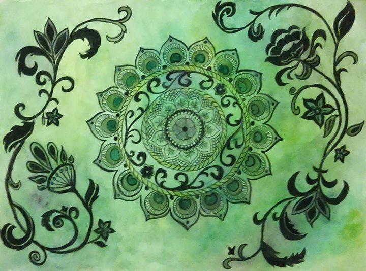 Green Mandala - Jen Hallbrown Art