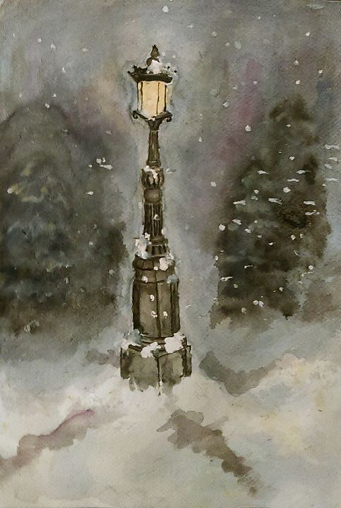 Lamp Post in Blue - Jen Hallbrown Art