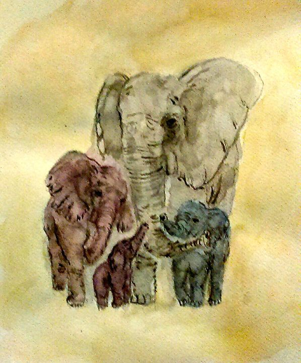 Elephants - Jen Hallbrown Art