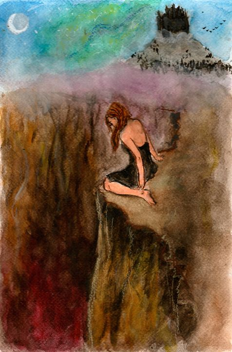 One foot in the abyss - Jen Hallbrown Art
