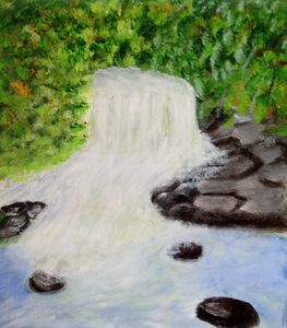 Waterfall with rocks and trees - Reema Pereira Paintings