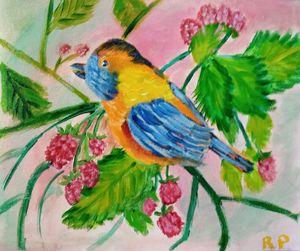 Eastern Bluebird On A Raspberry Tree