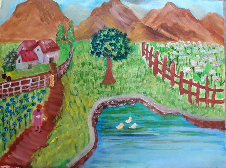 Girl on the way home - Reema Pereira Paintings