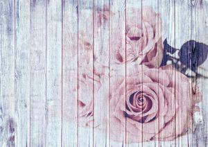 Shabby Chic Dusky Pink Roses On Wood