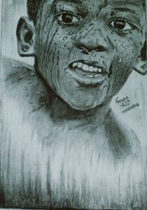 Pencil work of a happy african child