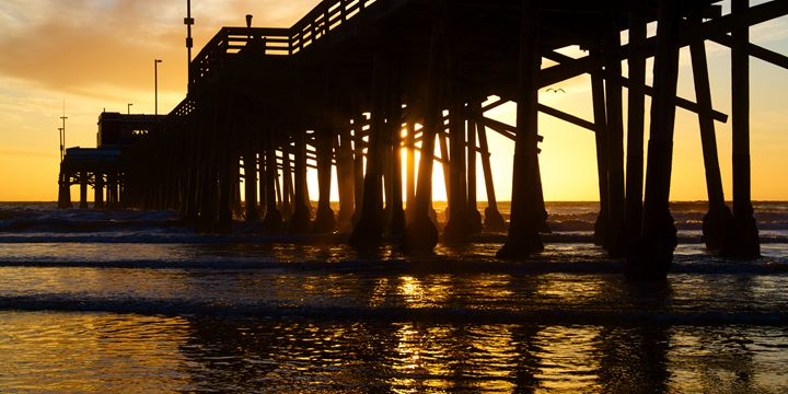 Newport Beach California Pier at Sun - Elite Image Photography