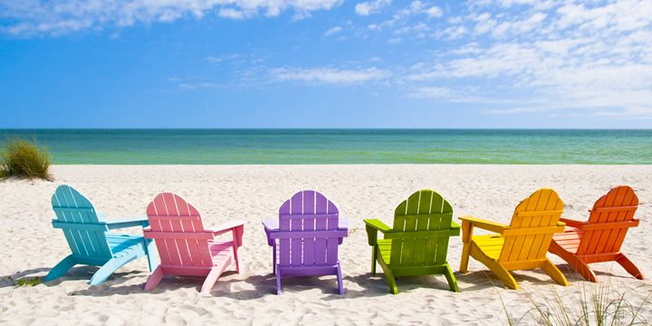 Adirondack Beach Chairs on a Sun Bea - Elite Image Photography