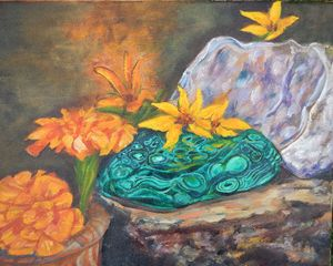 Marigolds and rocks