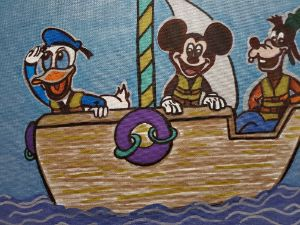 Disney pals on the boat