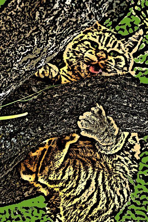 Tree Huggin' Tiger - Paizley's Digital Art