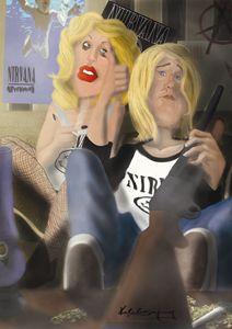 caricature Kurt Cobain