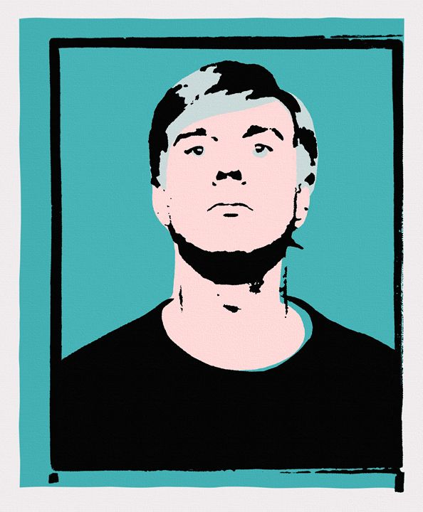 Andy Warhol Self-Portrait 1964 Cyan - Peter Potamus Gallery
