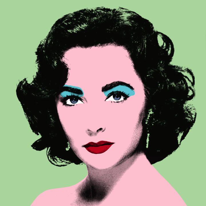 Green Liz - Warhol Inspired - Peter Potamus Gallery