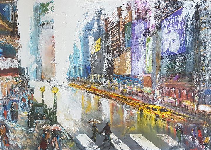 Pluie sur times square - Andreani