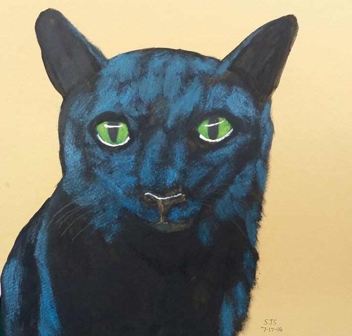 Midnight Black Cat - Art from the Heart