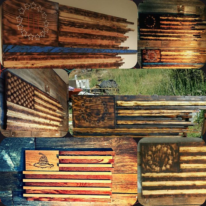 Original reclaimed wood flags - PS Creations