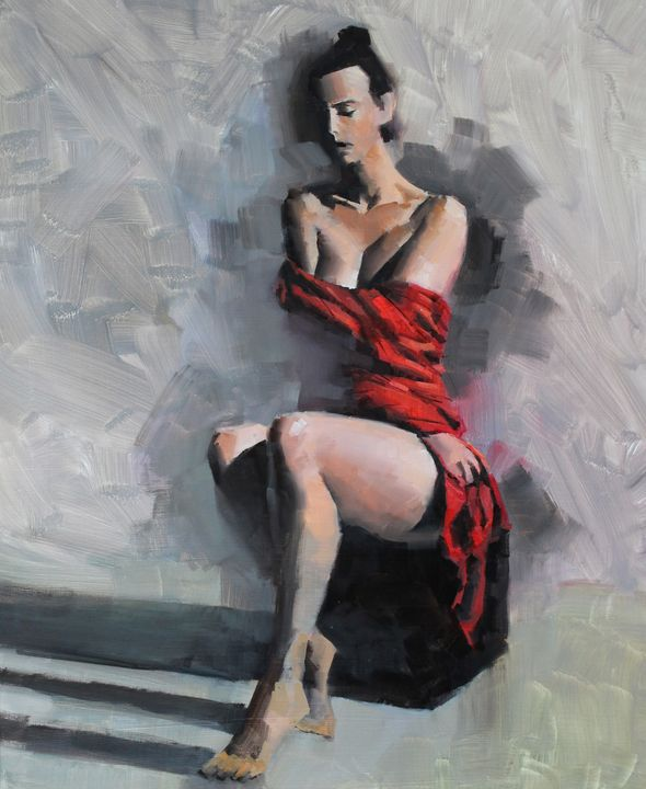 Sophia in red dress - Mark Sypesteyn fine art