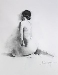 Seated female figure - Mark Sypesteyn fine art