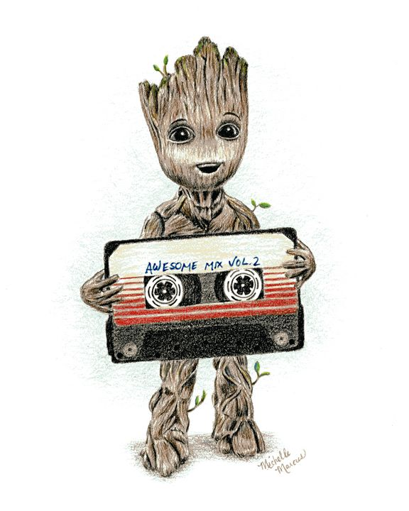 Groot With Awesome Mix Tape - Michelle Marcus Art
