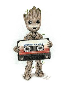 Groot With Awesome Mix Tape