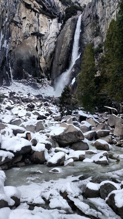 Winter at Yosemite Lower Fall - Tiffani Burkett