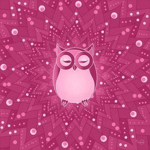 Pink owl mandala