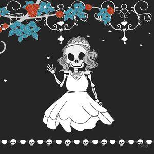 Skeleton bride waving in her wedding
