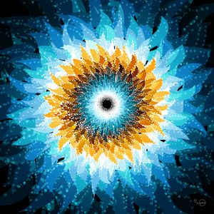 Space blue and yellow sunflower