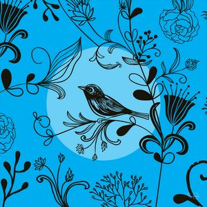 Vintage bird and flowers