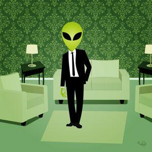 Fashion alien male in a corporate su