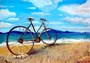 Old bike at the beach