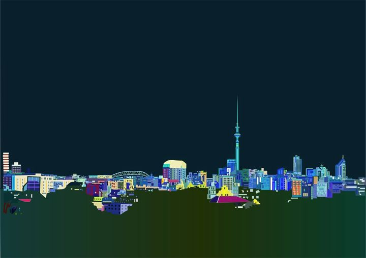 City of Auckland at Night - Art By Sarah Molloy NZ