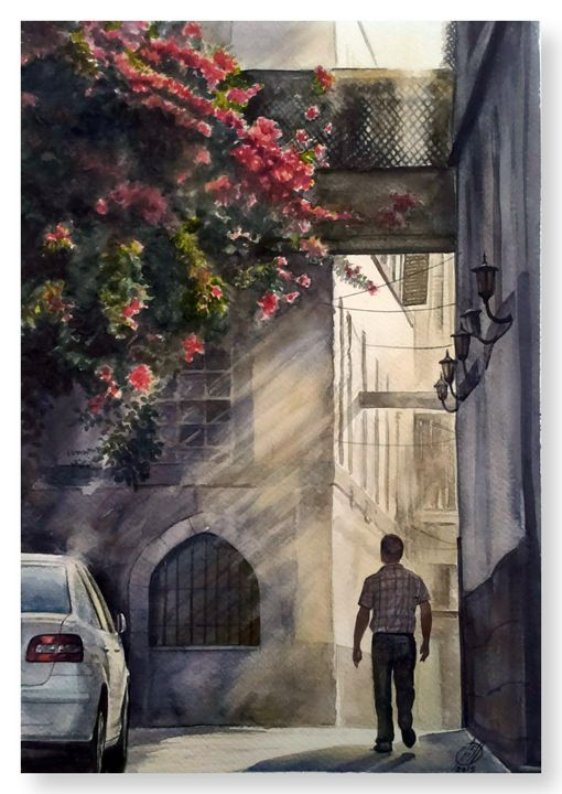 Sunset in Damascus - Alber Assi watercolor paintings