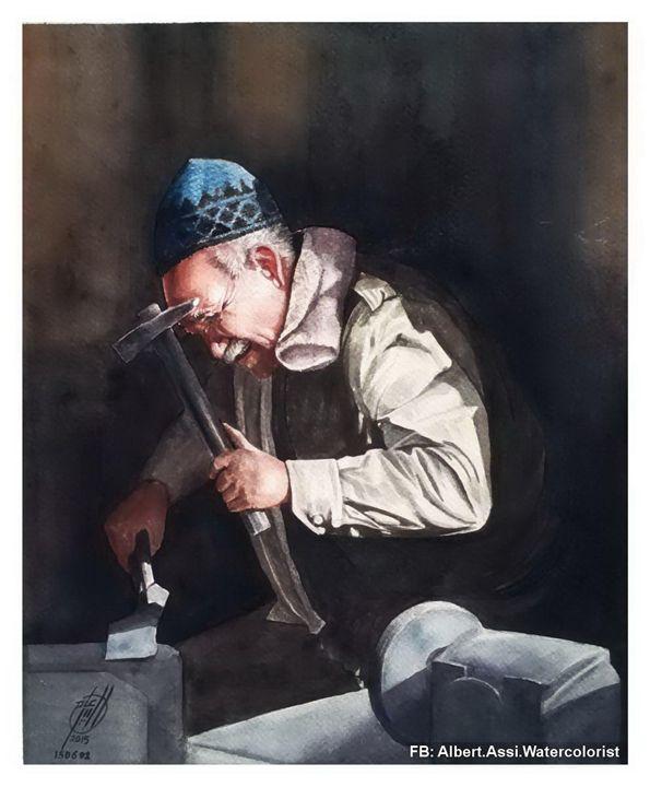 Smith man - Alber Assi watercolor paintings