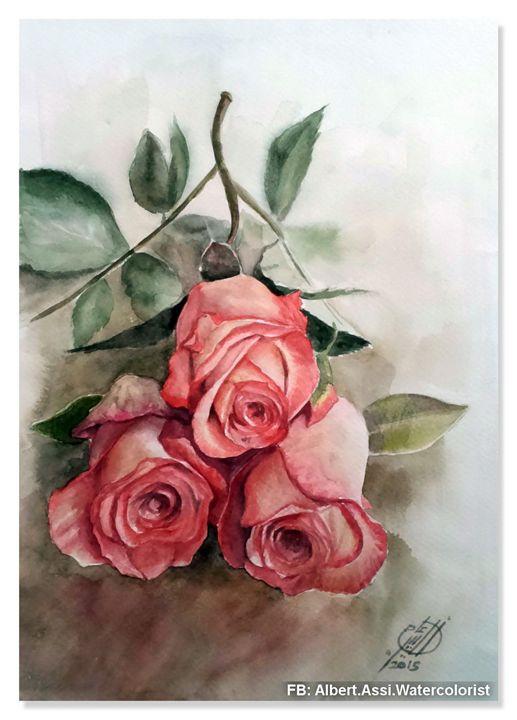 Roses - Alber Assi watercolor paintings