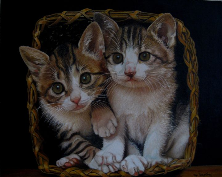 Two kitties in a basket - XRISTOS