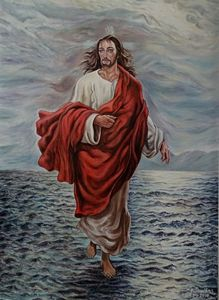 Jesus Christ walking in Sea