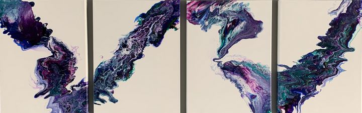 """Hand made original 48""""x16""""x 1/2"""" - Abstract Art by Roger"""