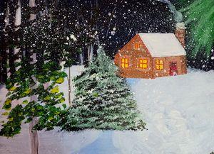 Cottage on a Snowy Night - Gracy's Arts